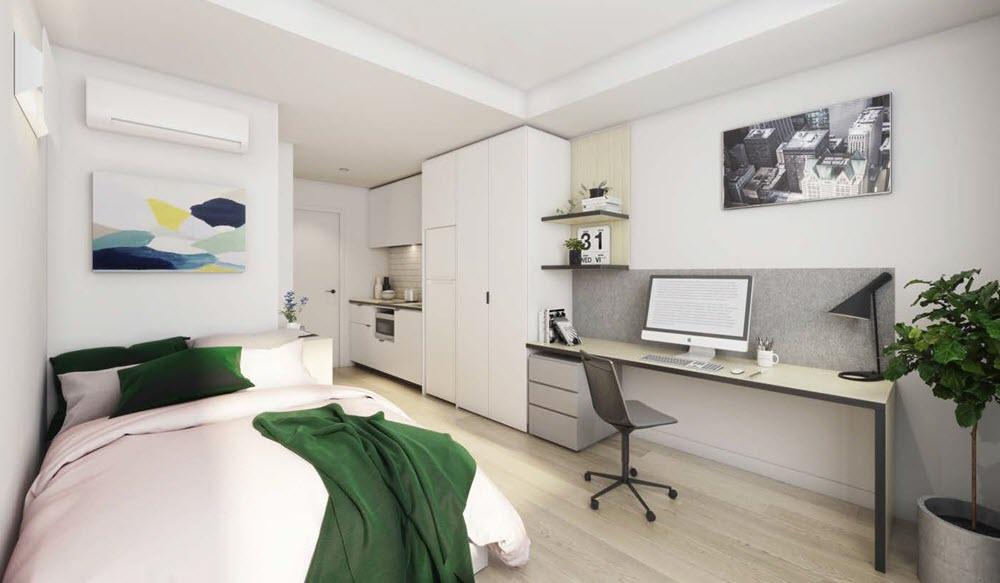 Suur taim, tekstiilid ja seinafoto moodustavad efektse terviku ja teevad toa hubaseks. Foto: Commercialrealestate.com.au/news/blue-sky-lodges-plans-for-276-bed-student-accommodation-in-kensington-62307/