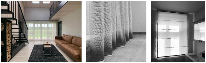 Õhulised tekstiilkardinad ja Rooma kardin modernses interjööris. Pilt: Harmtex Kardinasalong